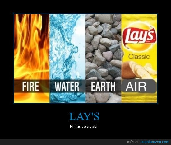 aang,agua,aire,avatar,elements,fuego,lay´s,tierra