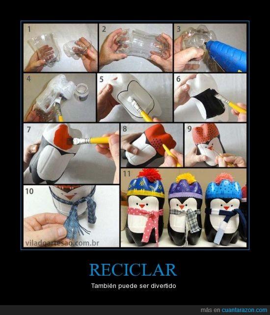 Botellas,Divertido,Pinguino,Plástico,Reciclar