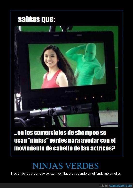 actriz,anuncio,champu,mover,ninja,pelo,ventilador,verde