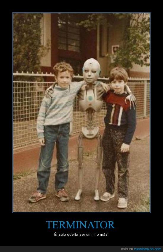 amigo,infancia,más,niño,robot,terminator