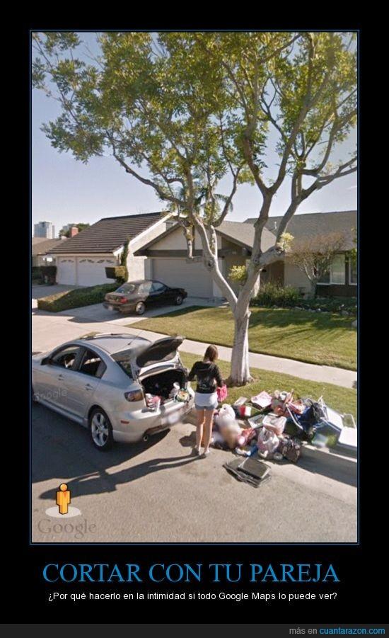 coche,cortar,google maps,llevar,objetos,pareja,suelo