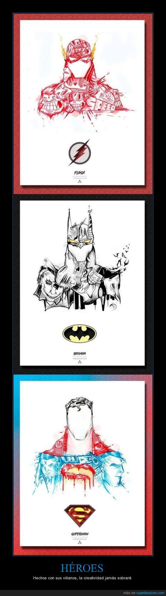 batman,flash,geniales,hechos,super heroes,superman,villanos