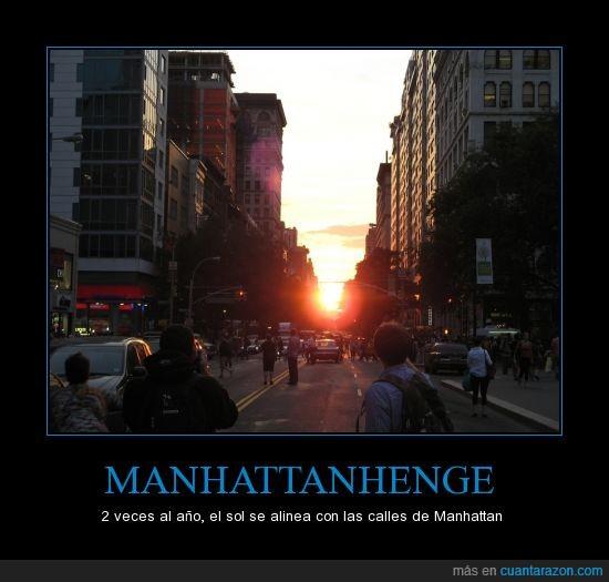 calles,Manhattan,Manhattanhenge,New York,Sol
