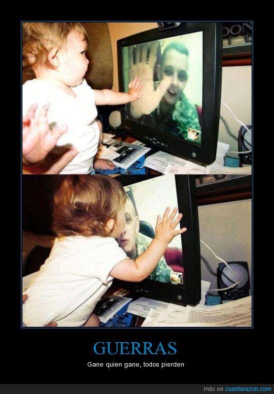 dejar,Guerra,hija,hijo,niños,seguro,skype
