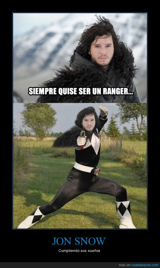 cancion de hielo y fuego,jon nieve,jon snow,negro,power ranger