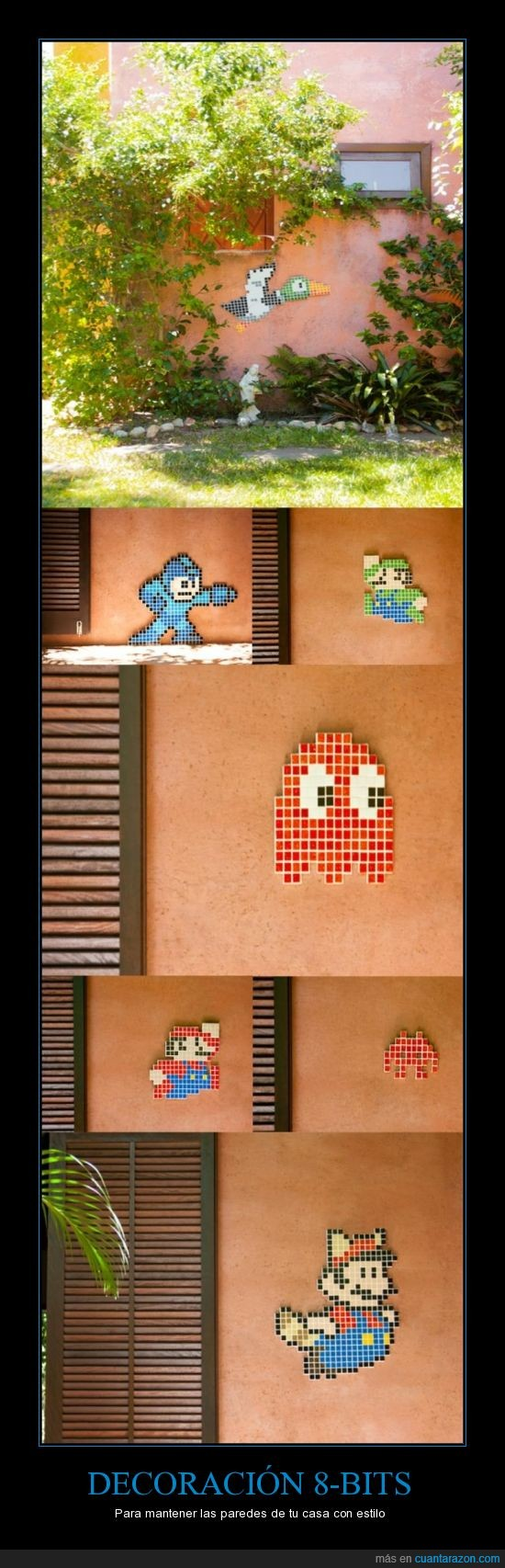 bit,casa,decoracion,mario,mosaico,pared,space invader