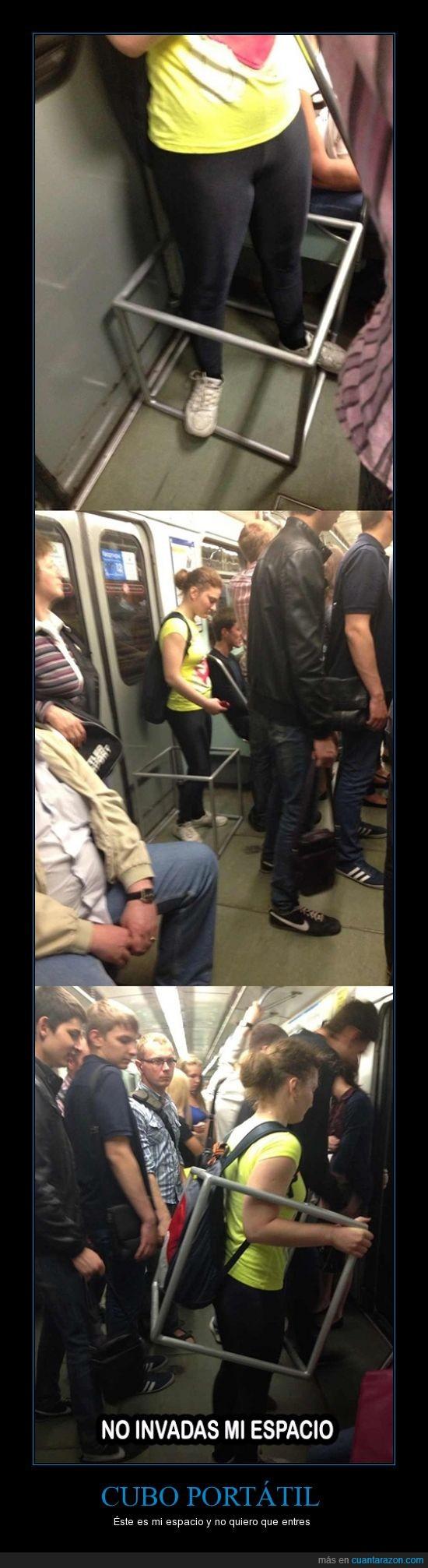 cubo,discriminación,espacio,invadir,metro,soporte,transporte,tren