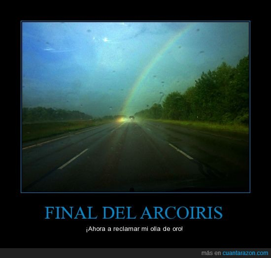 arcoiris,auto,carretera,encontrar,final,lluvia,olla,oro