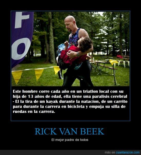 bicicleta,carrera,hija,kayak,padre del año,paralisis cerebral,Rick Van Beek,silla de ruiedas,triatlon