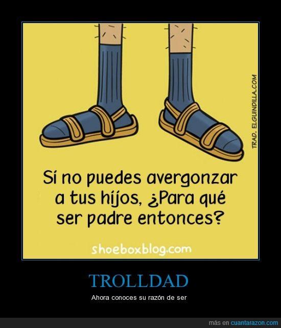 avergonzar,calcetines,hijos,padre,papá,trolldad