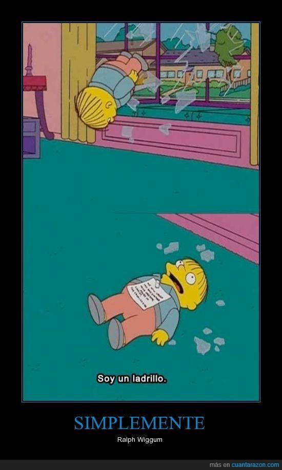 cristal,ladrillo,Los Simpsons,papel,Ralph Wiggum,ventana,¡mi gato se llama Guantes!,¡yo me llamo Ralph!