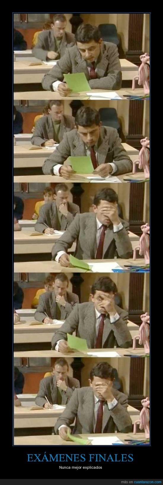 Exámenes,miedo,mirar,Mr. Bean,Notas,Reacción