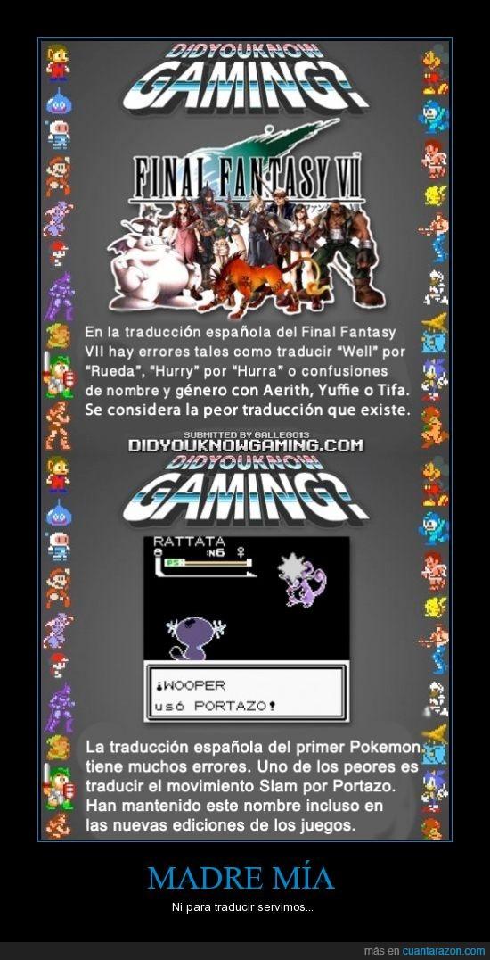curiosidad,did you know gaming,final fantasy,horrorosa,pokemon,portazo,traducción