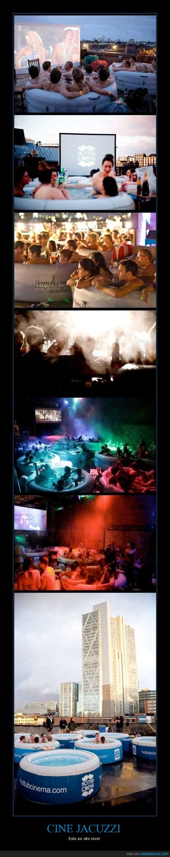 cine,espectacular,jacuzzi,peliculas,Piscinas,terraza