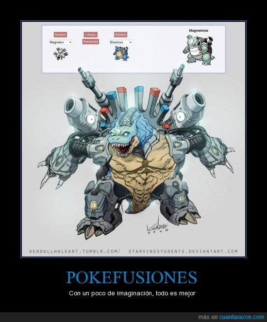 agua,blastoise,imaginación,magneton,parecido a iron man,pokefusiones