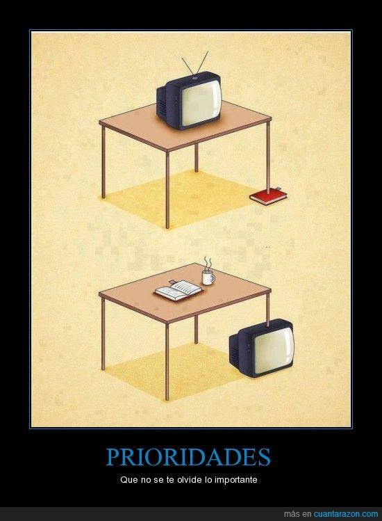 calzar,coja,Libros,prioridades,televisión,tv