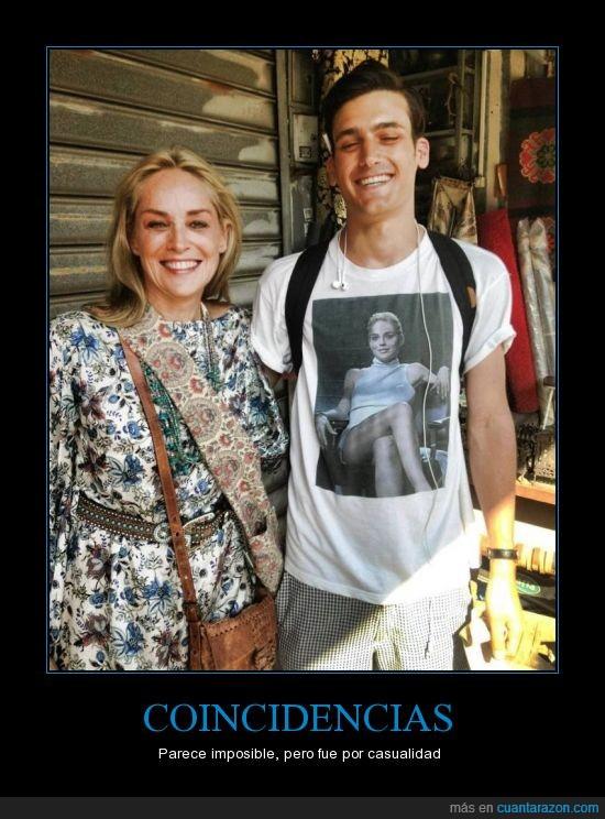calle,camiseta,coincidencia,encontrar,famosa,instinto basico,sharon stone