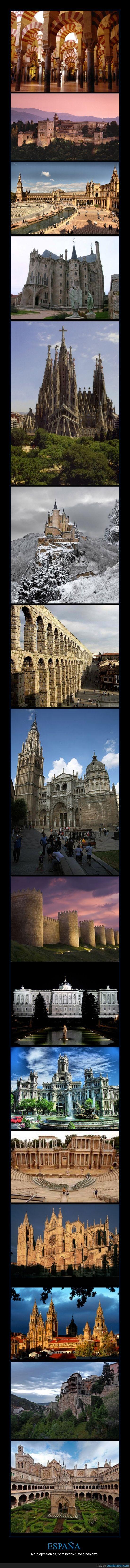 Alcázar Segovia,Astorga,Ávila,Barcelona,Córdoba,Cuenca,Faltan muchisimos más,Granada,León,Madrid,Mérida,Monasterio de Guadalupe,Santiago de Compostela,Sevilla,Toledo