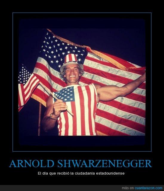 america,americana,arnold,bandera,ciudadania,estados unidos,gorro,shwarzenegger