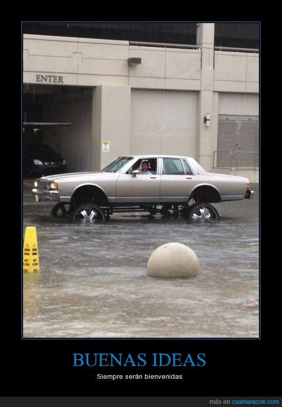 alto,coche,ingenio,inundacion,ruedas,subir,suspencion