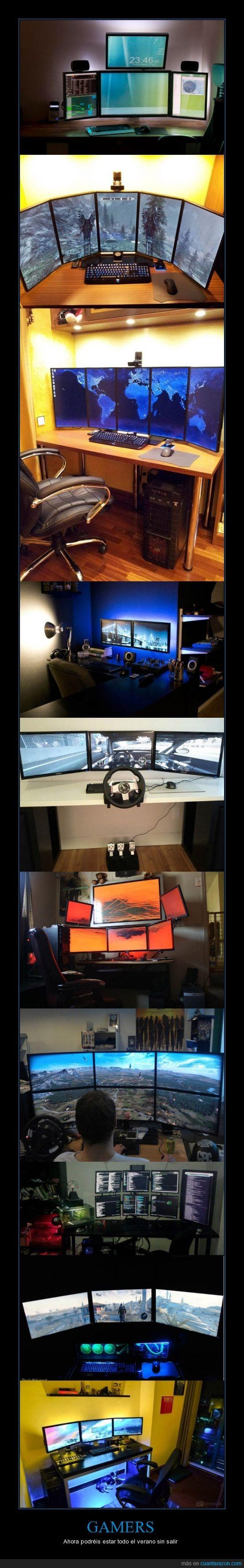 friki,gamer,multiples,pantallas,verano,vida social