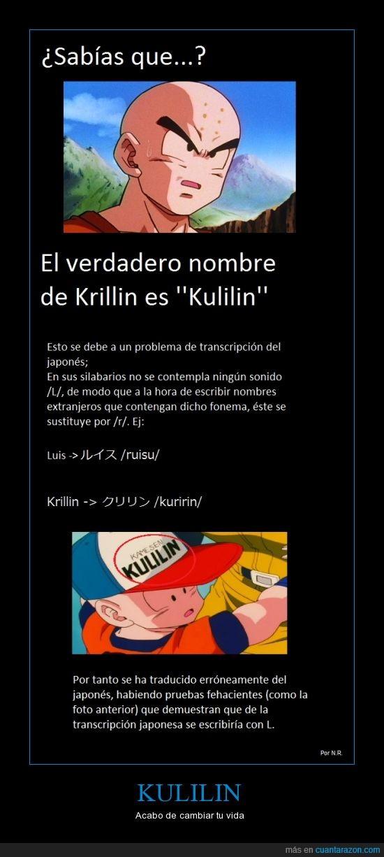 bola de dragon,dragon ball,japonés,Kulilin,kuririn,nombre,silabario