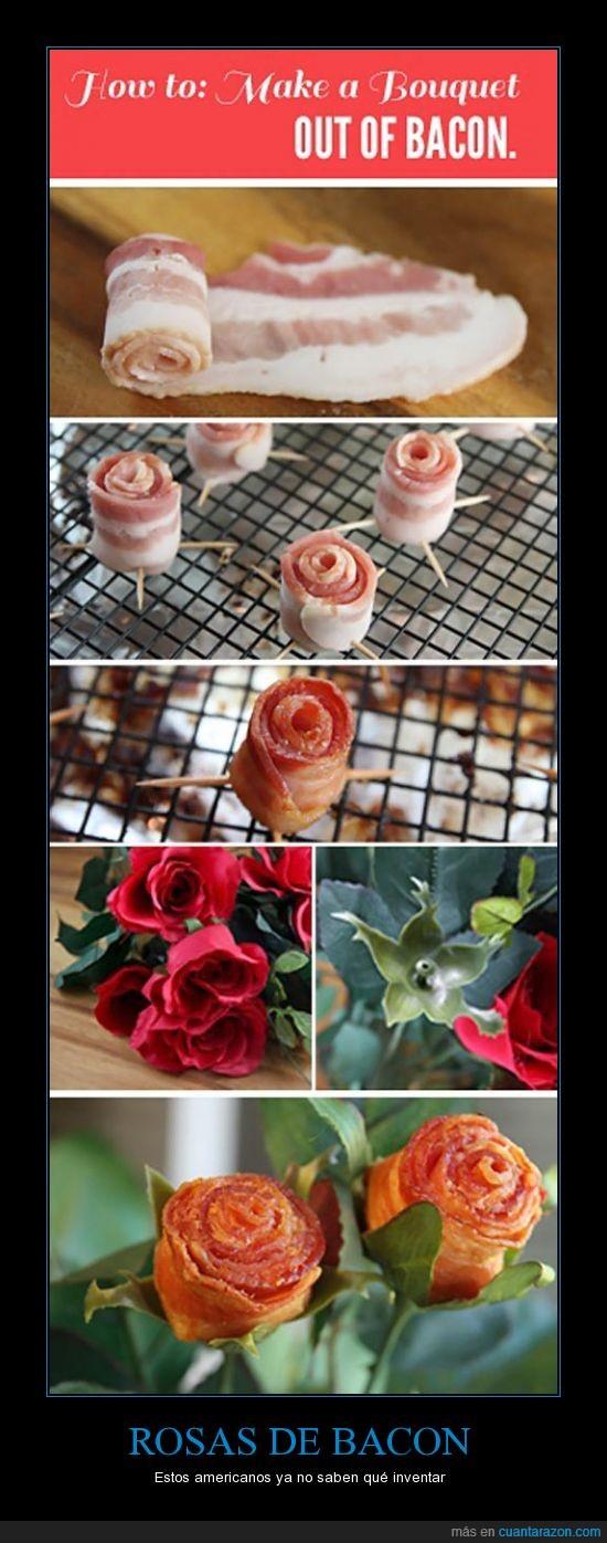americano,bacon,flores,freir,ramo,rosa,rosas