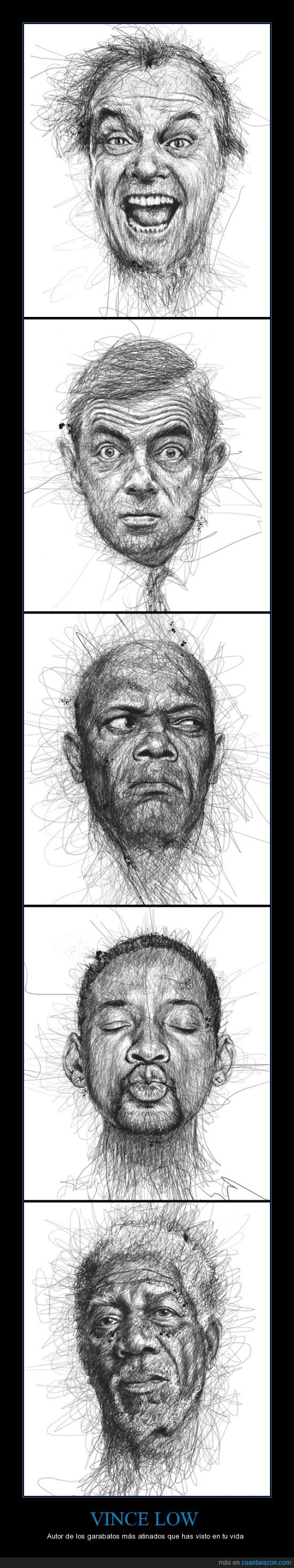 arte,dibujos,garabatos,Jack Nicholson,Morgan Freeman,retratos,Rowan Atkinson,Samuel L Jackson,Vince Low,Will Smith