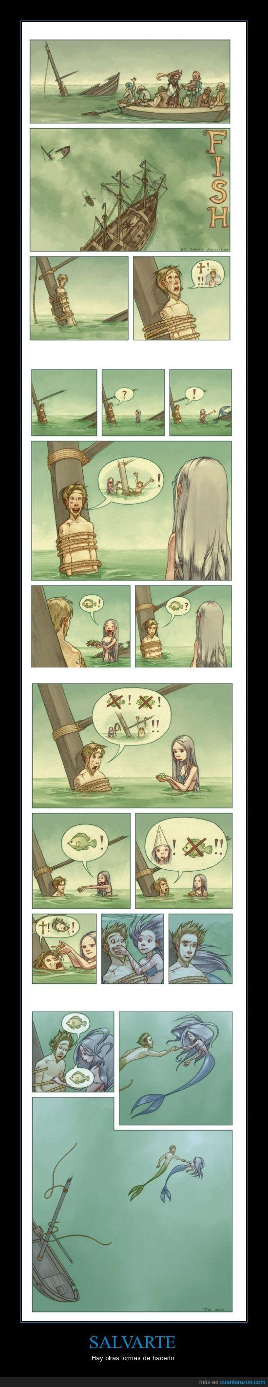 ayudar,pescado,pirata,salvar,sirena,vida