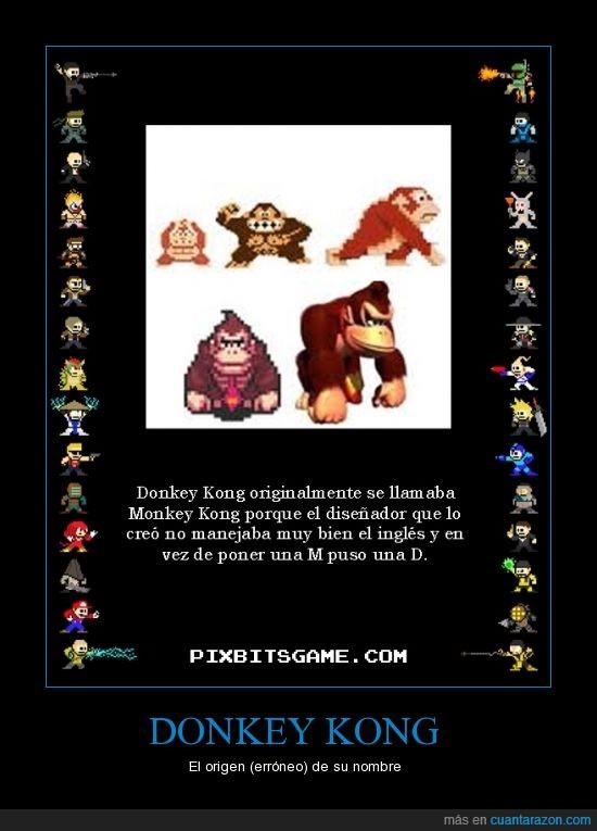 D,Donkey Kong,error,inglés,M,origen del nombre