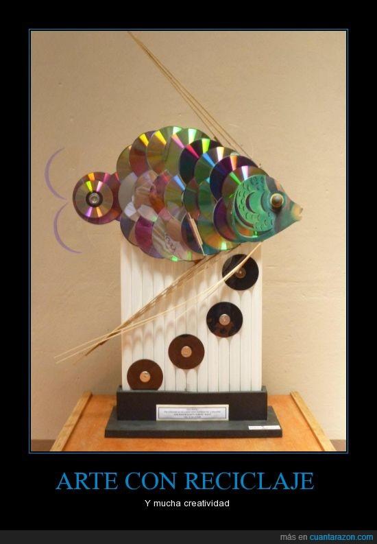 arte,CD,escultura,nuevo,pez,Reciclaje