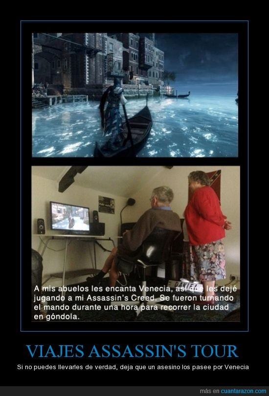 abuelos,assasins creed 2,ezio,gamers,turismo