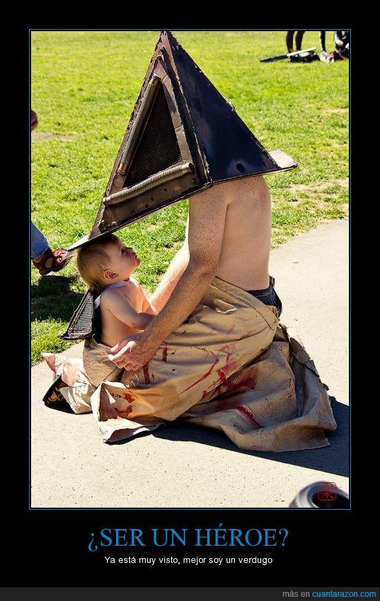 bebe,hijo,la cámara de los secretos ha sido abierta,niño,padre,pyramid head,silent hill,verdugo