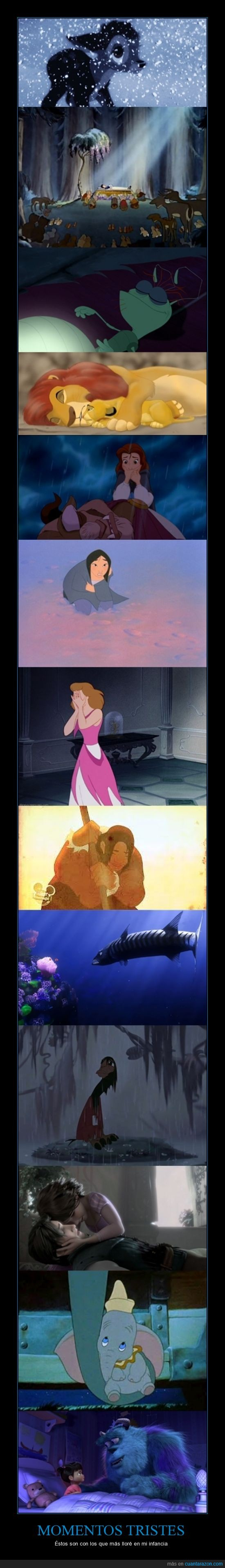 bambi,bella y la bestia,cenicienta,disney,dumbo,llorar,monstruos,mulan,rapunzel,rey leon,simba,triste,zas
