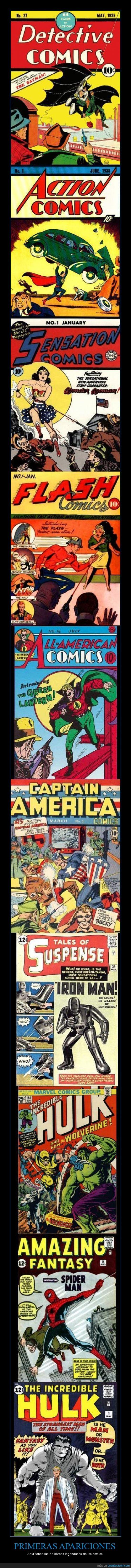 batman,comics,DC,hulk,Marvel,primeras apariciones,spiderman,superman,wonderwoman