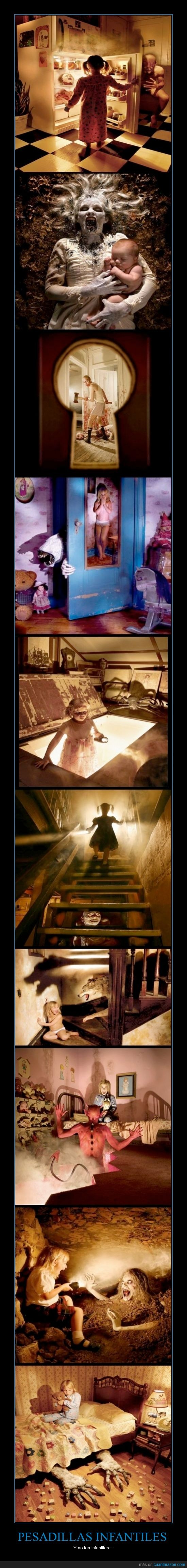 cama,escalera,Joshua Hoffine,miedo,monsters inc.,monstruos,niño,pesadillas
