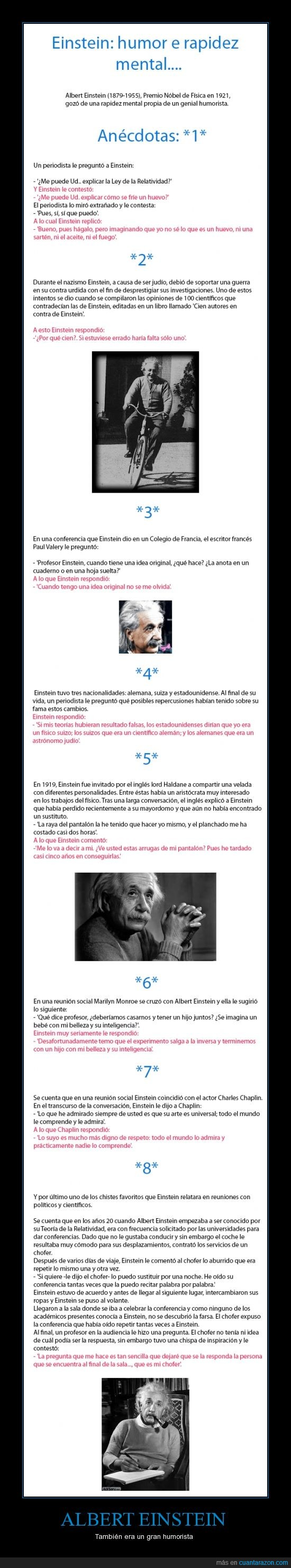 albert einstein,chaplin,chofer,humor,inteligencia,marilyn monroe,premio novel,rapidez