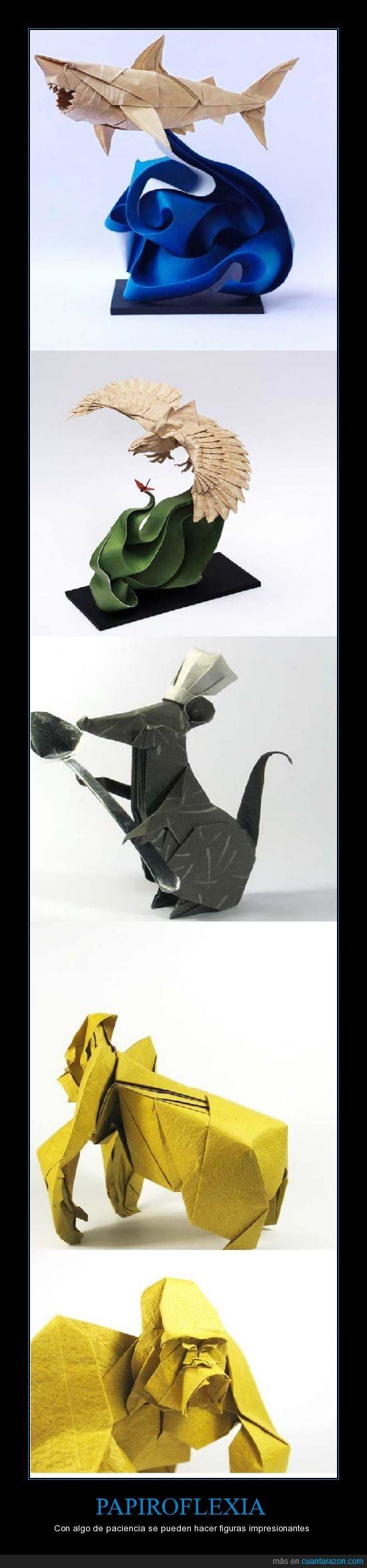 animales,aves,gorila,hojas,origami,paciencia,papiro,papiroflexia,ratón,tiburón