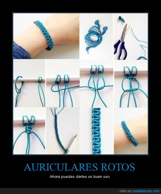 auriculaes,cable,craft,haces,handmade,joya,pulsera