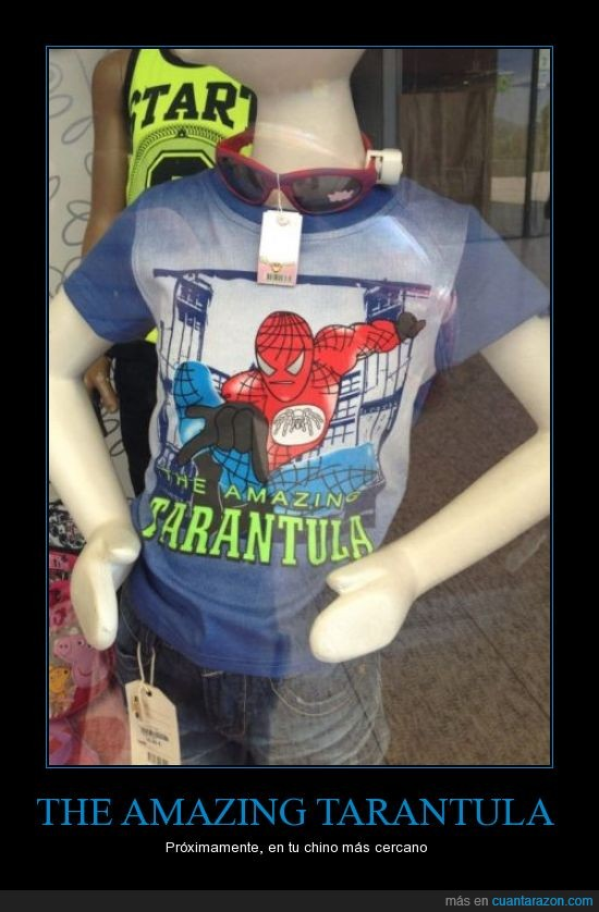 camiseta,evolucion de la buena,falsa,spiderman,tarantula