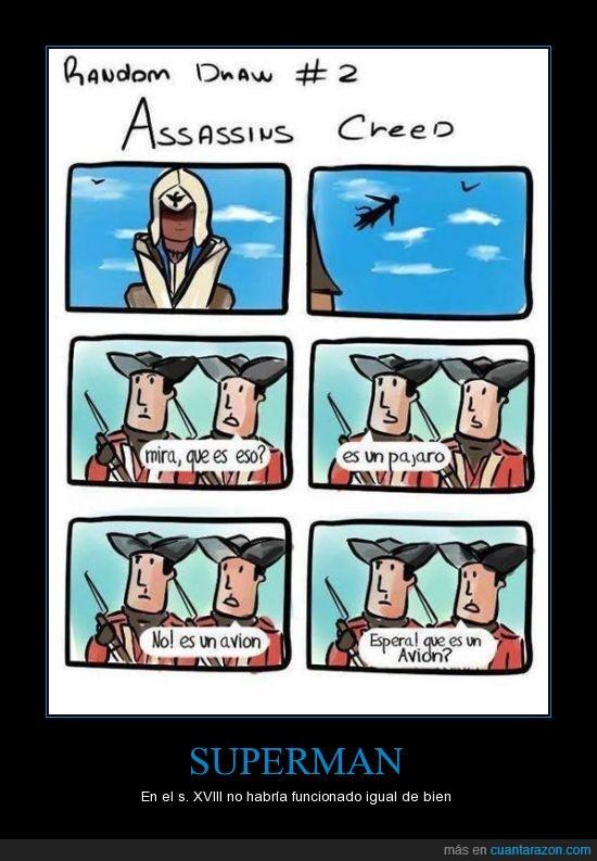 assasins creed,avion,pajaro,preguntar,soldado,superman,vuelo