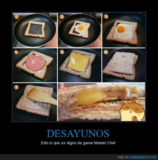 bimbo,buenisimo para la resaca,desayuno,huevo,molde,pan,queso