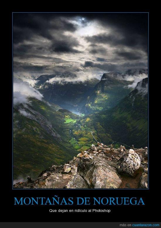 altura,fascinante,montañas de noruega,photoshop,rocas