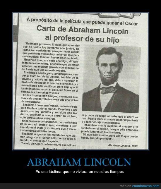 buena persona,carta,gobierno,hijos,Lincoln,politica,profesor