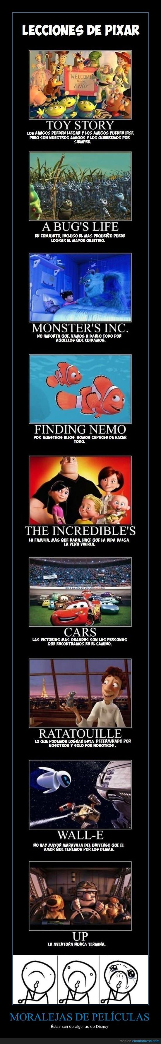 Bichos,Buscando a Nemo,Cars,Disney,Los Increibles,Monstruos SA,moraleja,película,Ratatouille,Toy Story,Up,Wall-e