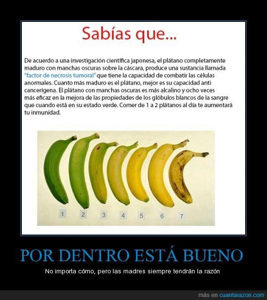 banana,cancer,inmunidad,negra,plátanos,por dentro bueno,por fuera feo