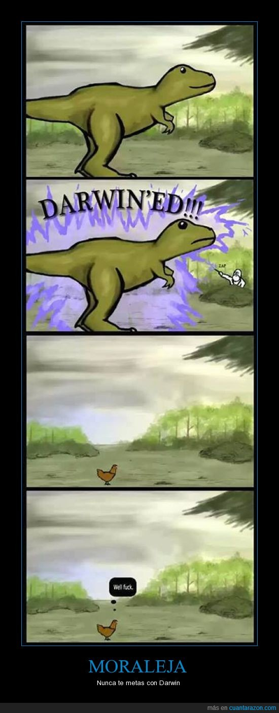 Charles Darwin,Darwin,Dinosaurios,Gallina,t-rex,troll