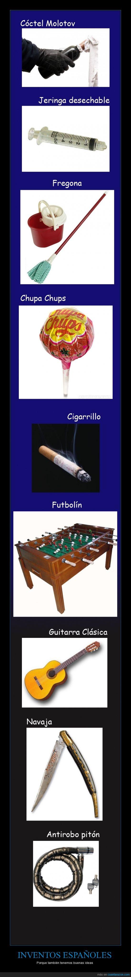 antirobo,chupa chups,cigarrillo,cigarro,españa,fregona,futbolin,guitarra,invento,inventos españoles,jeringa,piton,republica
