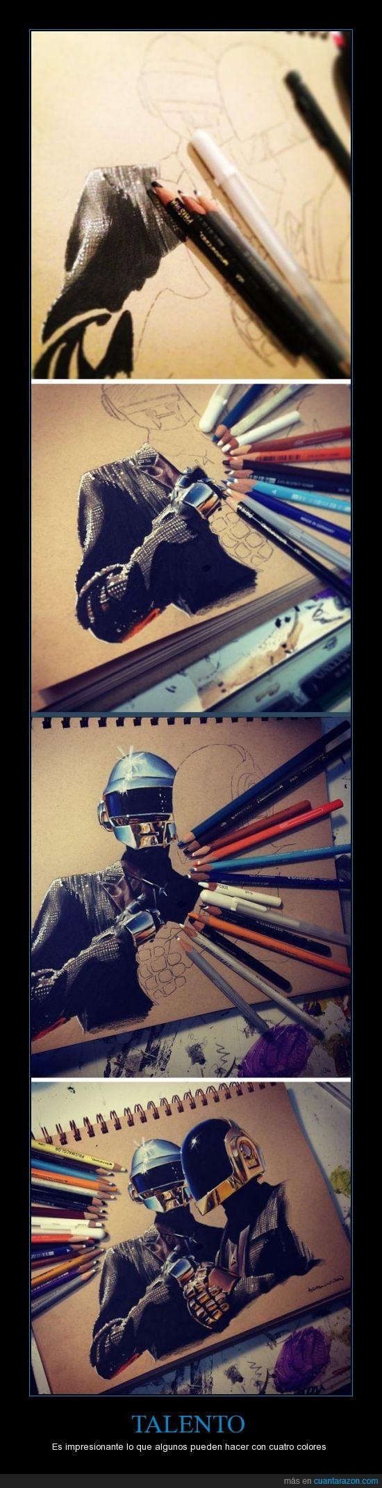 arte,daft punk,impresionante,lápices,molar