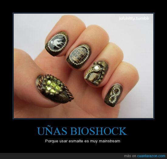 bioshock,esmalte,infinite,metal,pintauñas,steampunk,uñas,videojuegos